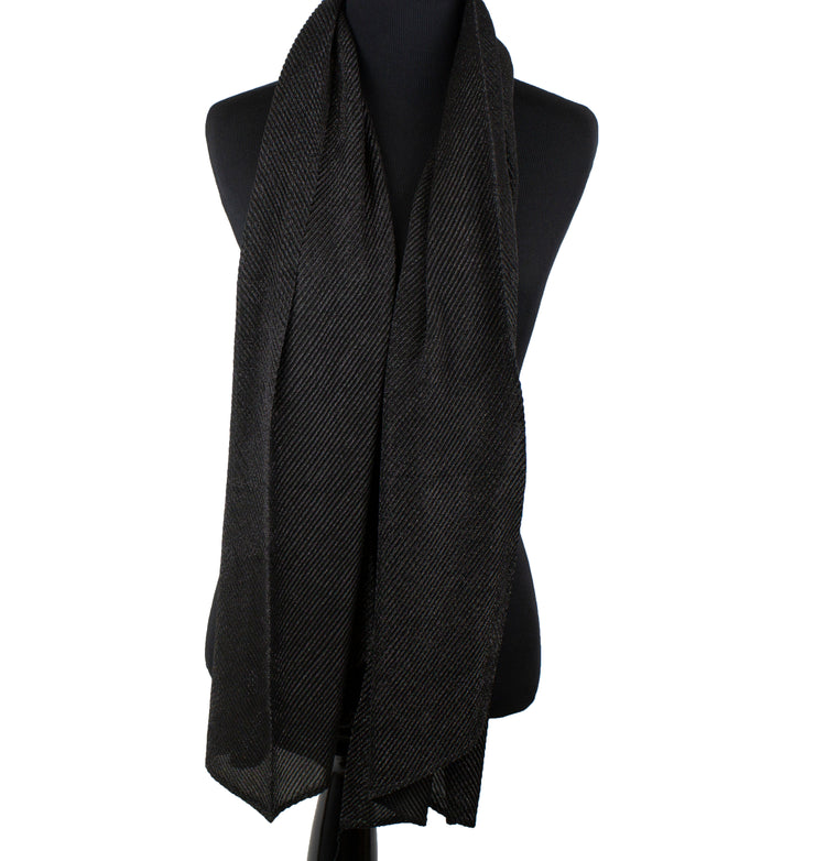 Shimmer Pleated Hijab - Black