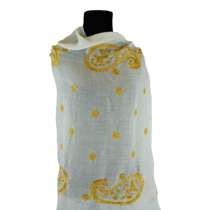 Gold Embroidered Hijab - White