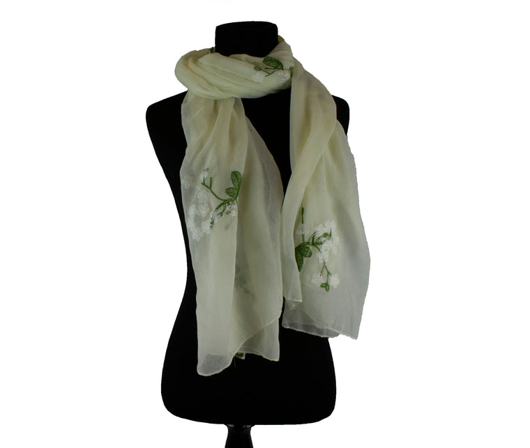 Floral Embroidered Hijab - Creme