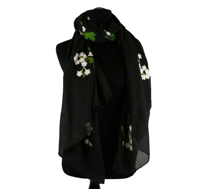Floral Embroidered Hijab - Black
