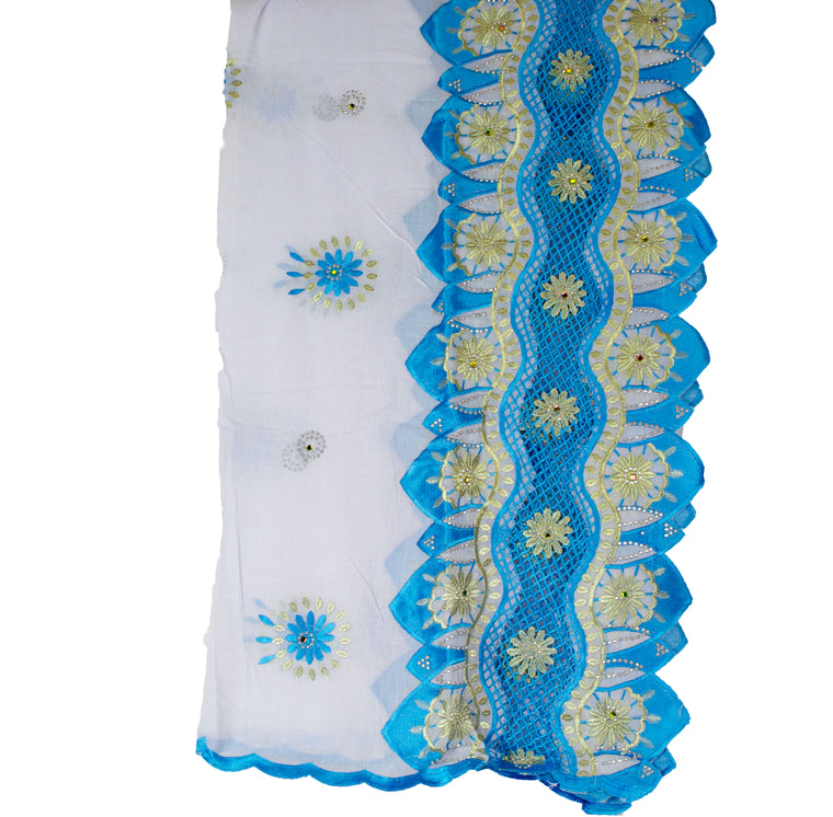 Mayafi Shawl Wrap - Gold & Light Blue
