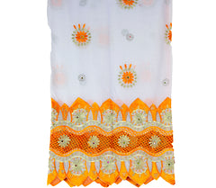 Mayafi Shawl Wrap - White & Orange