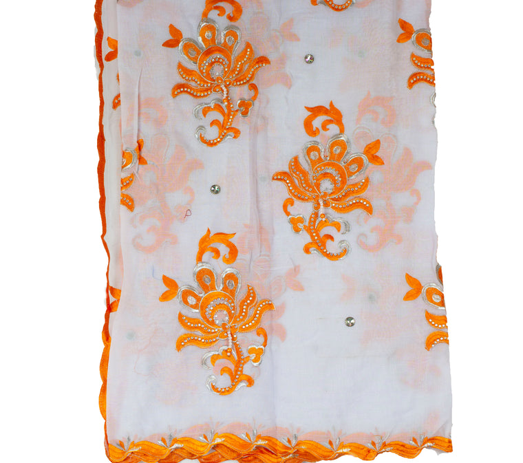 Mayafi Shawl Wrap - Orange & White