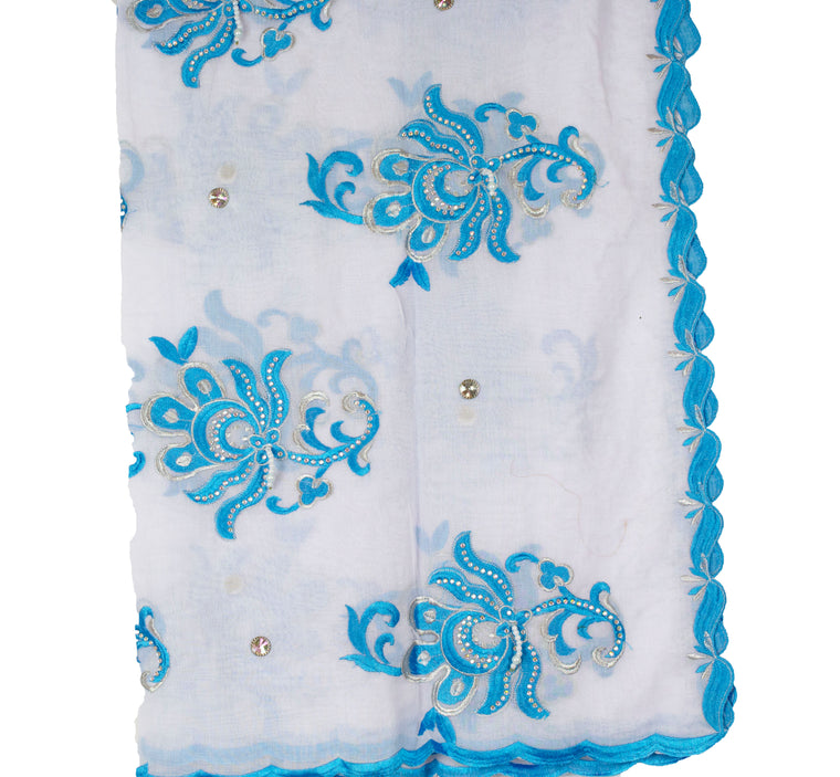 Mayafi Shawl Wrap - White & Light Blue