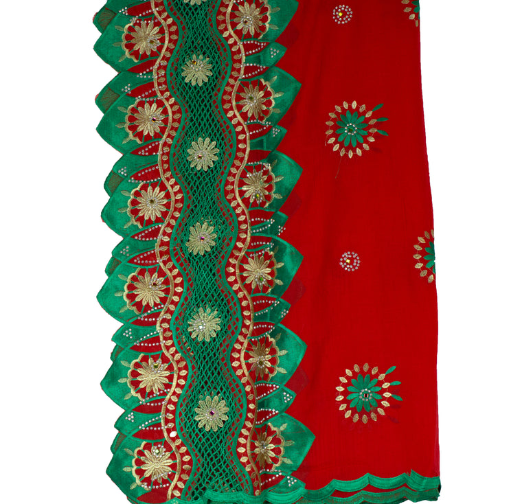 Mayafi Shawl Wrap - Red & Green