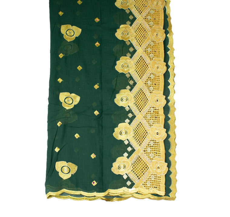 Mayafi Shawl Wrap - Dark Green & Gold