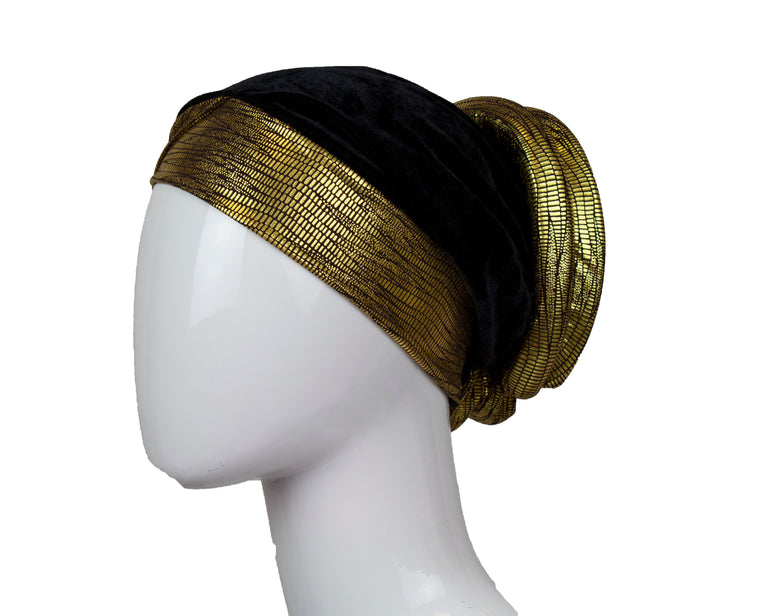 Velvet Bonnet Cap - Black & Gold