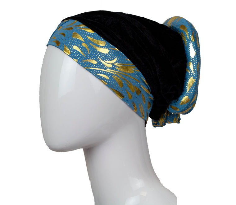 Velvet Bonnet Cap - Light Blue