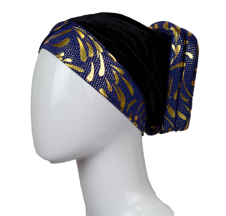 Velvet Bonnet Cap - Navy & Gold