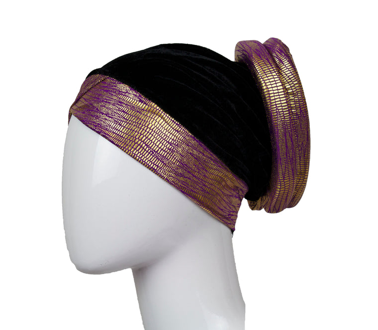 Velvet Bonnet Cap - Purple