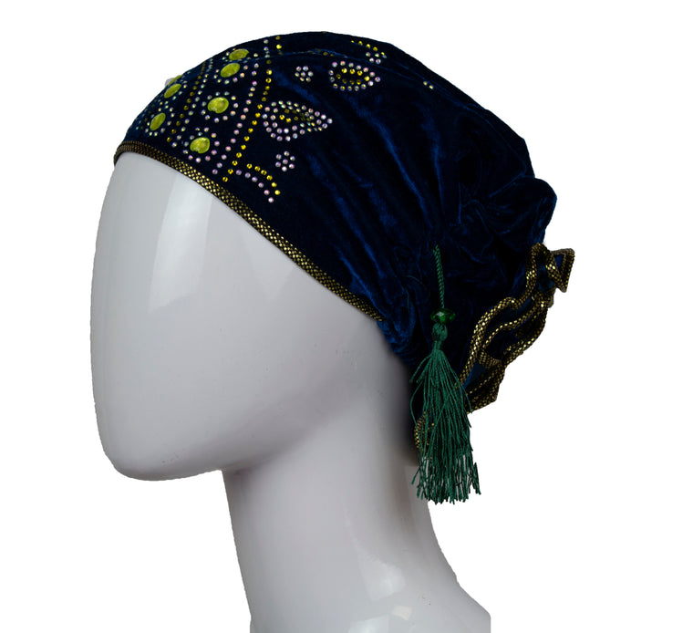 Velvet Bonnet Cap - Navy Blue