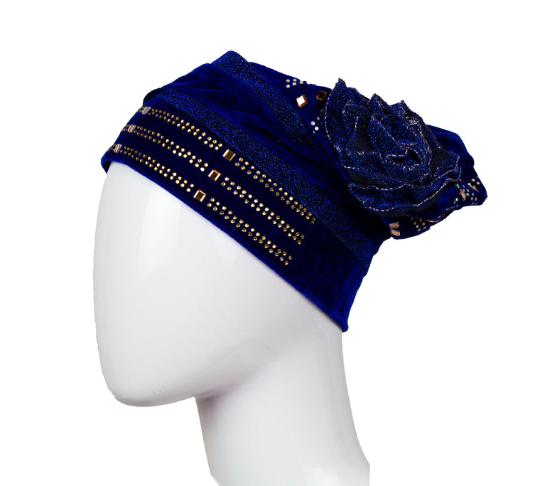Velvet Bonnet Cap - Dark Blue