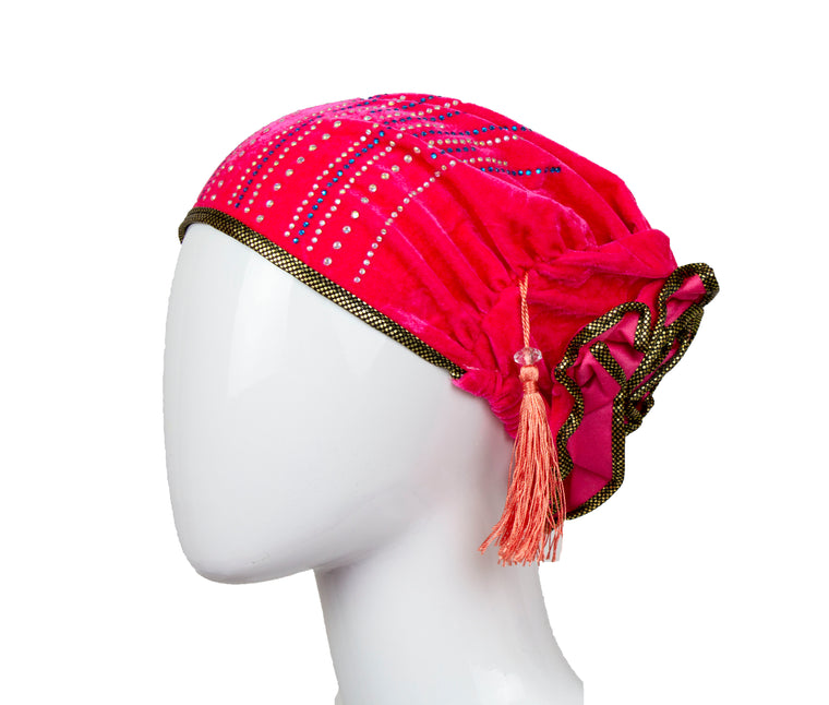 Velvet Bonnet Cap - Hot Pink