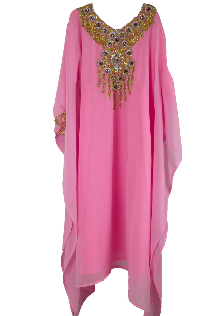 Girls Kaftan - Pink and gold butterfly