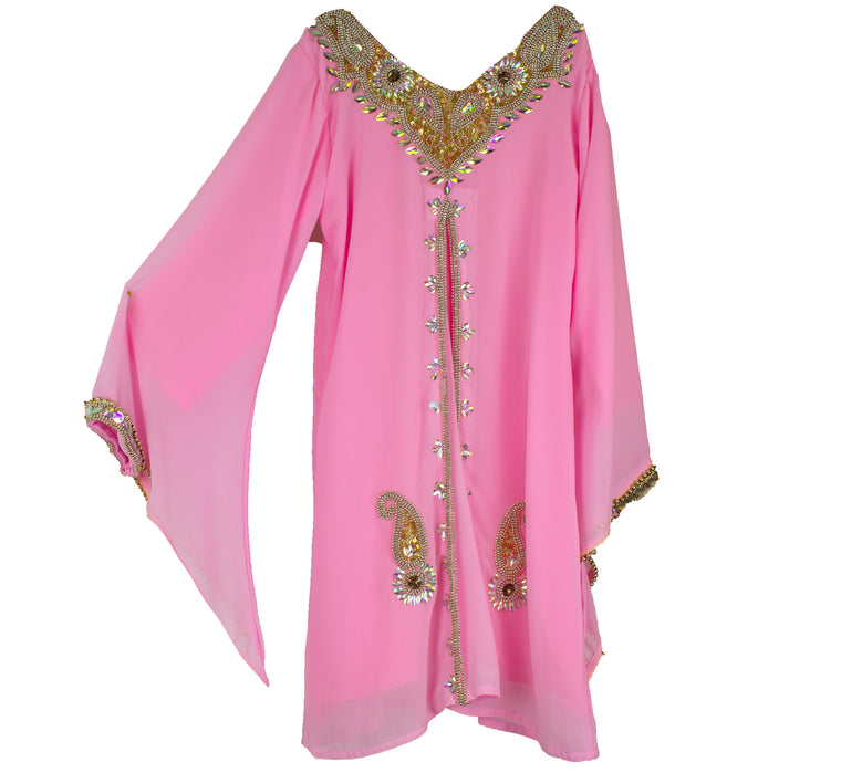 Girls Kaftan - Pink and gold