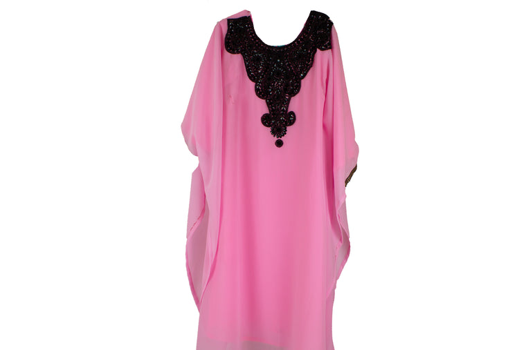Girls Kaftan - Pink and black