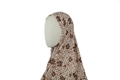 long printed tan and brown one piece slip on hijab with sequins