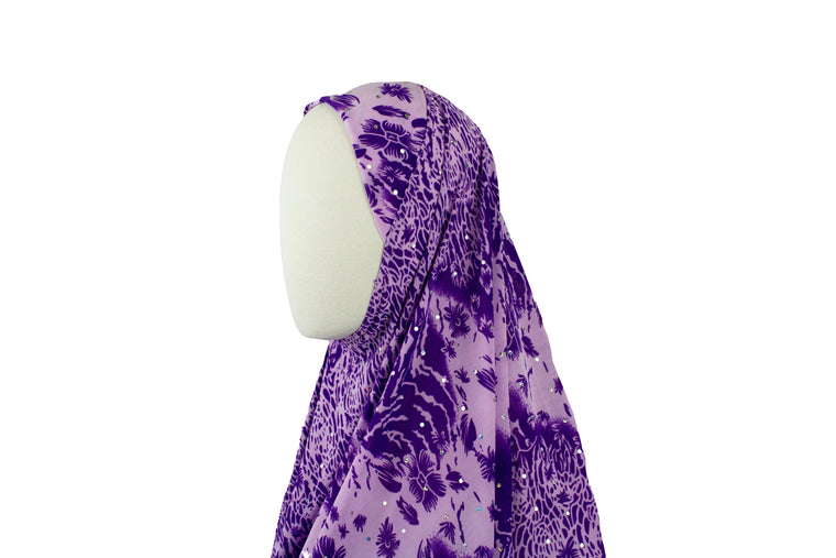 One-Piece Sequin Slip-on Khimar - Purple Floral