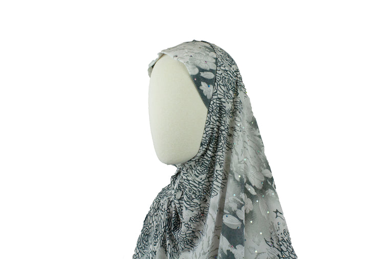 One-Piece Sequin Slip-on Khimar - Gray and White