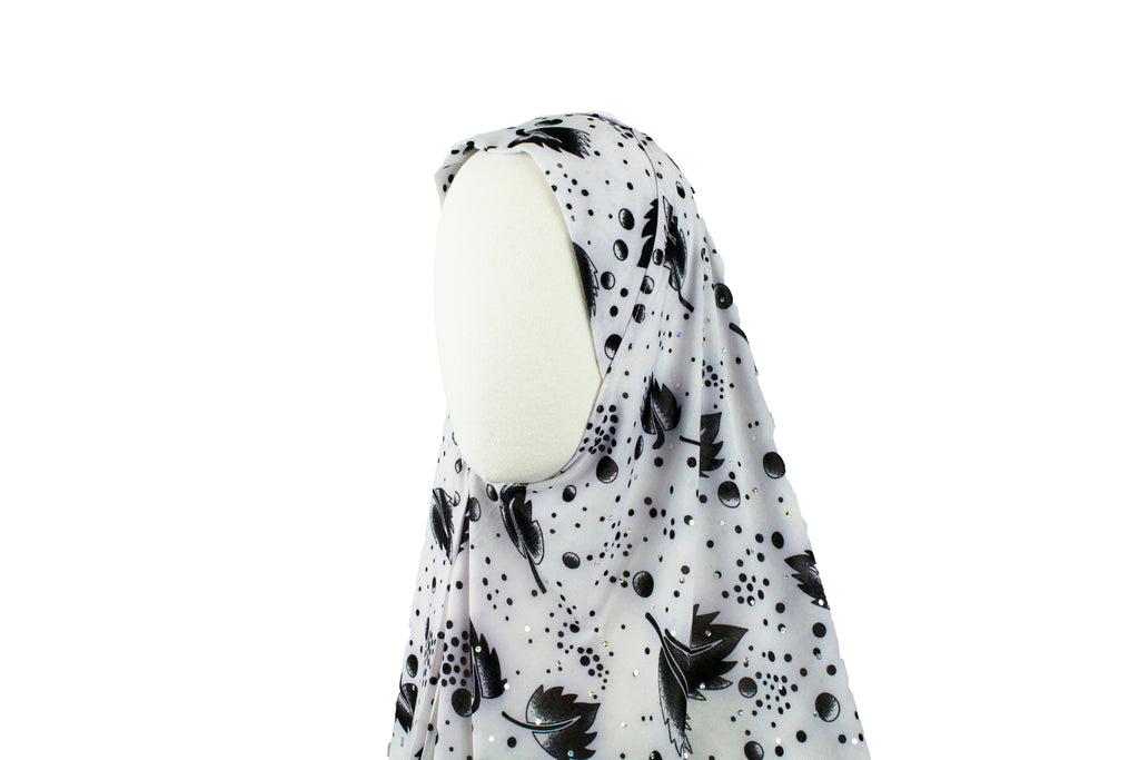 One-Piece Sequin Slip-on Khimar - Black and White