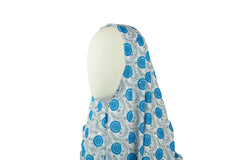 long printed blue and white one piece slip on hijab with sequins