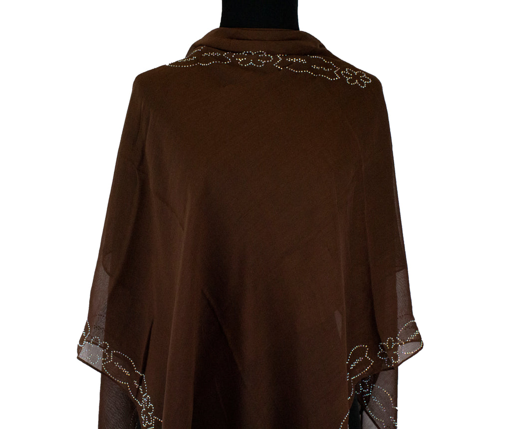 brown square hijab with jewels along the edges