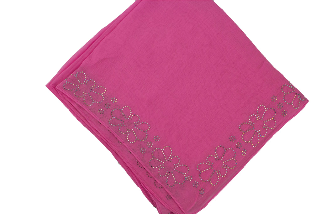 hot pink square hijab with jewels