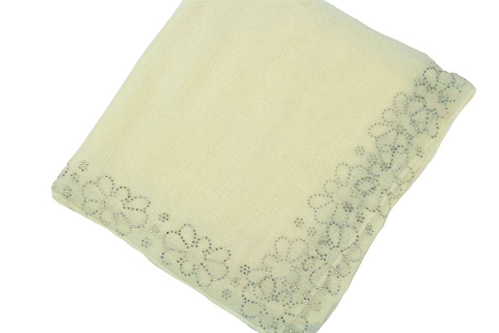 creme square hijab with jewels along the edge in a floral and geometric pattern