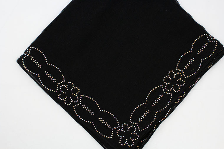 Gem Square Hijab - Black Floral Cut