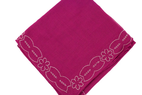 magenta square hijab with jewels along the trim in a floral pattern