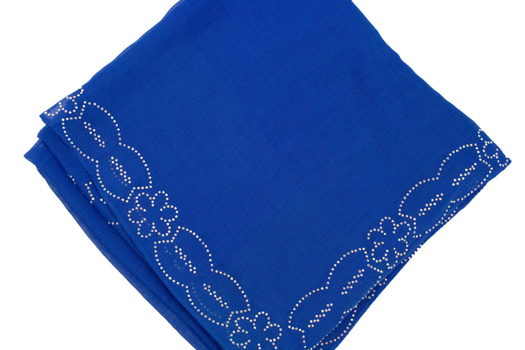 Gem Square Hijab - Blue Floral Cut