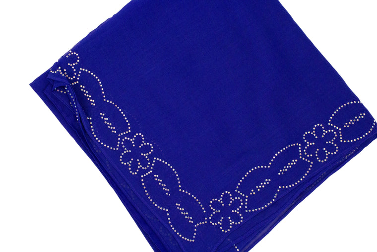 Gem Square Hijab - Royal Blue Floral Cut