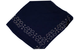 Gem Square Hijab - Navy Floral Trim
