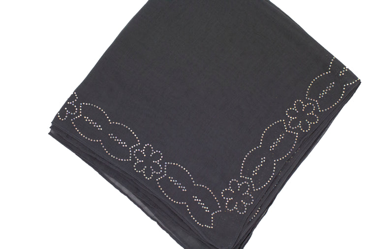 Gem Square Hijab - Dark Gray Floral Cut