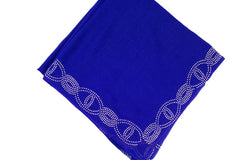 Gem Square Hijab - Royal Blue Twist