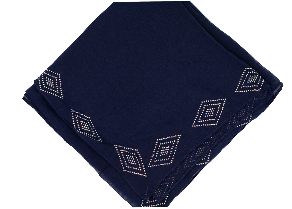 Gem Square Hijab - Navy Diamond