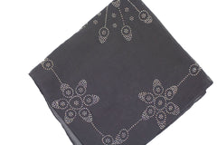 dark gray square hijab with jewels in a floral pattern