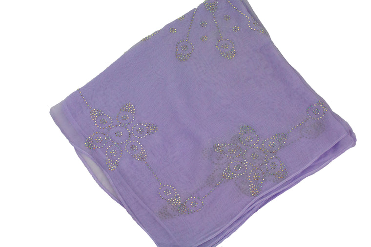 Gem Square Hijab - Lilac Flower Burst