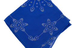 royal blue square hijab embellished with jewels in a floral pattern