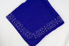 Gem Square Hijab - Royal Blue Floral Trim