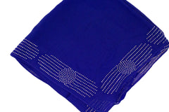 royal blue square hijab with jewels