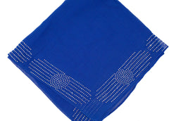 royal blue square hijab embellished with jewels along the edge