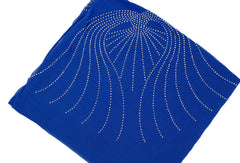 royal blue square hijab embellished with jewels in the pattern of angel wings