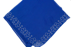 royal blue square hijab embellished with jewels along the edge in a floral pattern