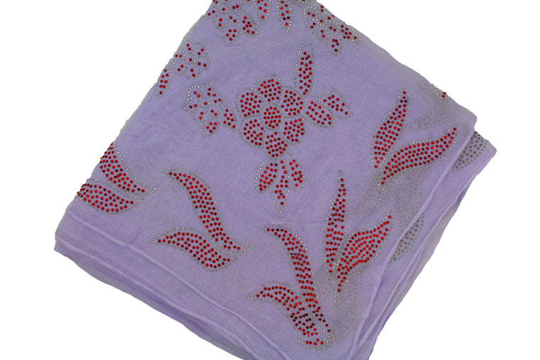 Gem Square Hijab - Floral Frenzy Lilac&Red