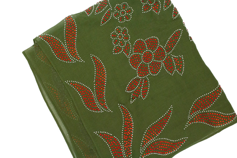 Gem Square Hijab - Floral Frenzy Olive&Red