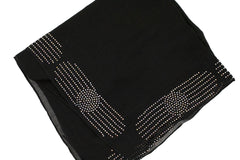 black square hijab embellished with jewels in a circle pattern on the edges