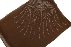 brown square hijab with angel wings in jewels