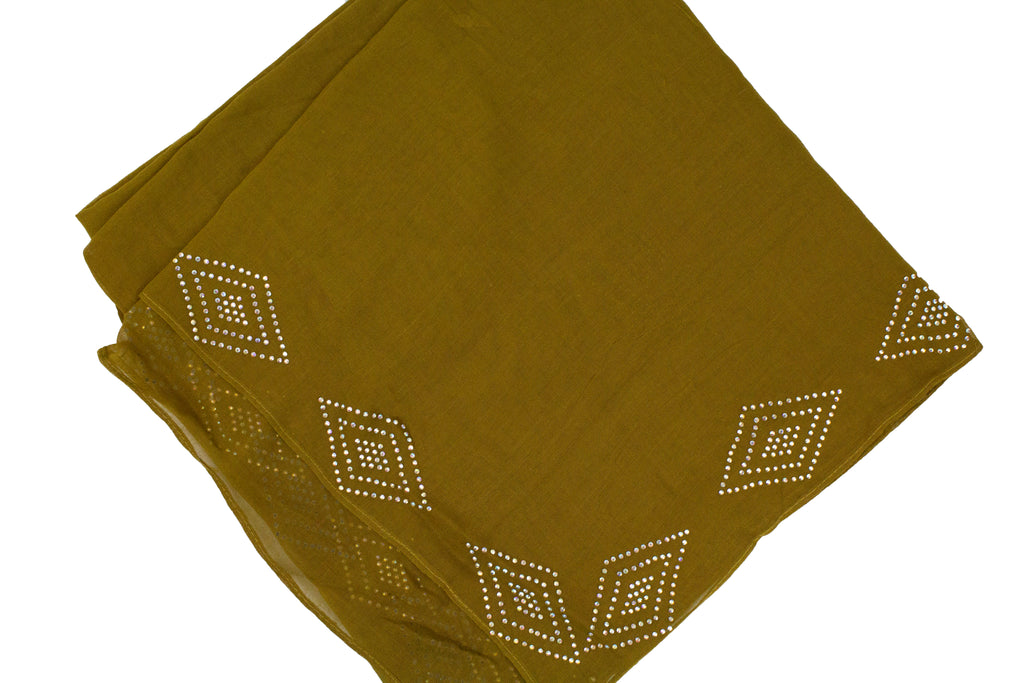 olive square hijab with jewels along the trim