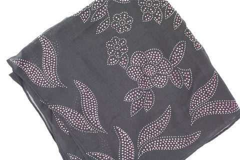dark gray square hijab with light pink jewels in a floral pattern